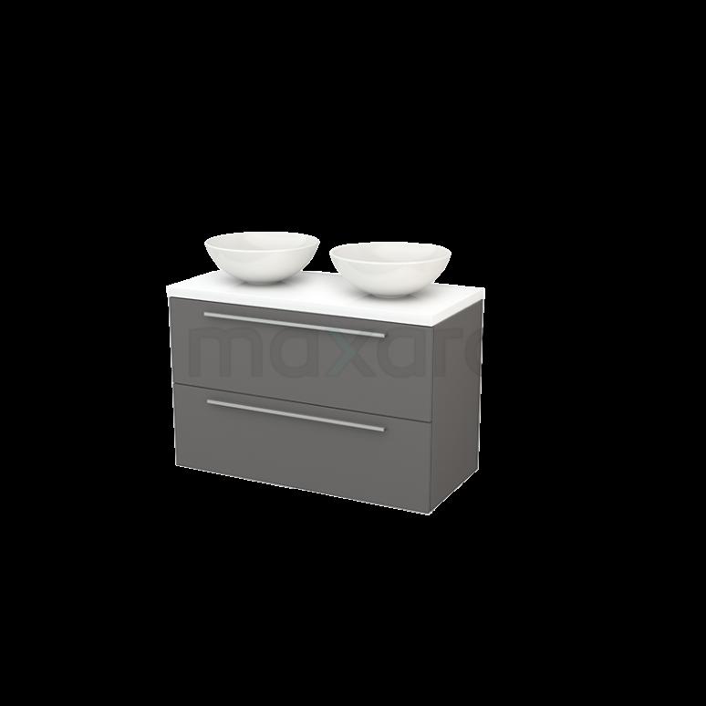 Badkamermeubel voor Waskom 100cm Modulo+ Plato Basalt 2 Lades Vlak Hoogglans Wit Blad