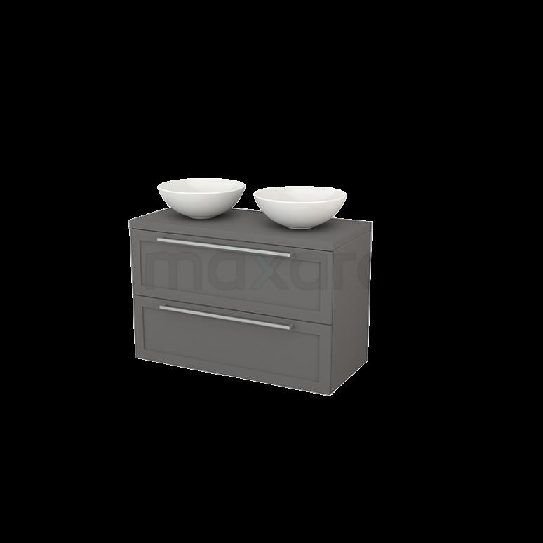 Badkamermeubel voor Waskom 100cm Modulo+ Plato Basalt 2 Lades Kader