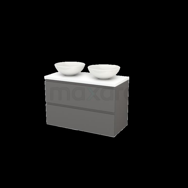 Badkamermeubel voor Waskom 100cm Modulo+ Plato Basalt 2 Lades Greeploos Hoogglans Wit Blad