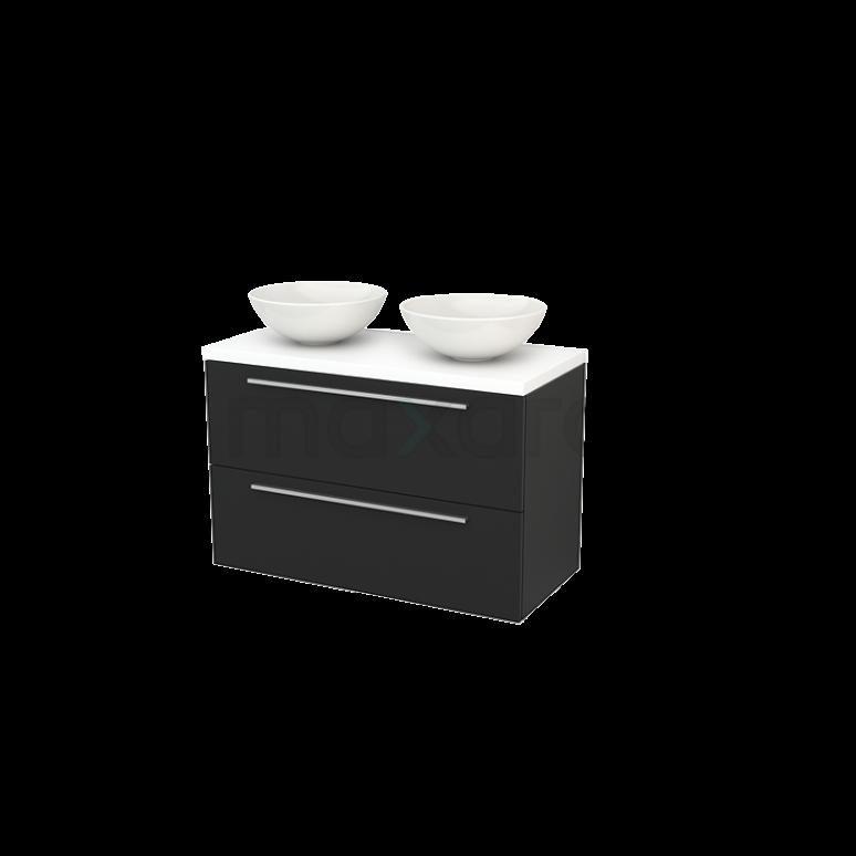Badkamermeubel voor Waskom 100cm Modulo+ Plato Carbon 2 Lades Vlak Mat Wit Blad