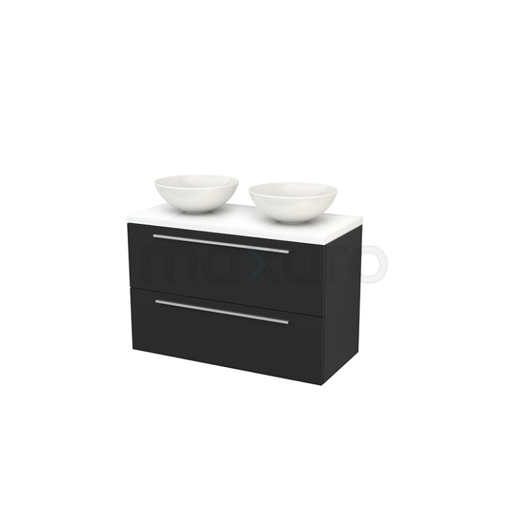 Badkamermeubel voor Waskom 100cm Modulo+ Plato Carbon 2 Lades Vlak Hoogglans Wit Blad