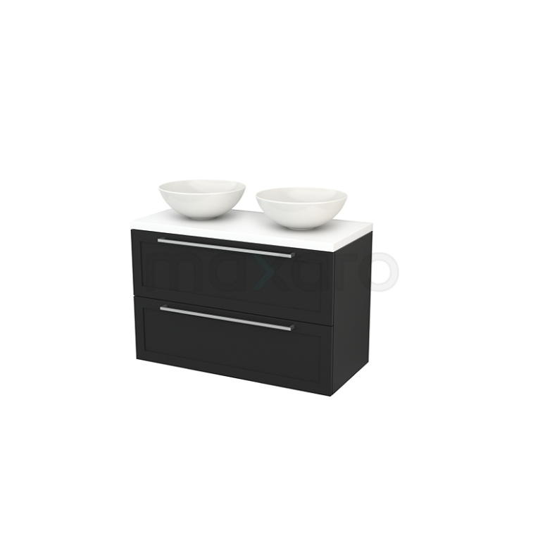 Badkamermeubel voor Waskom 100cm Modulo+ Plato Carbon 2 Lades Kader Mat Wit Blad