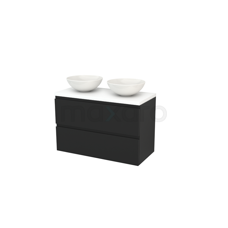 Badkamermeubel voor Waskom 100cm Modulo+ Plato Carbon 2 Lades Greeploos Mat Wit Blad
