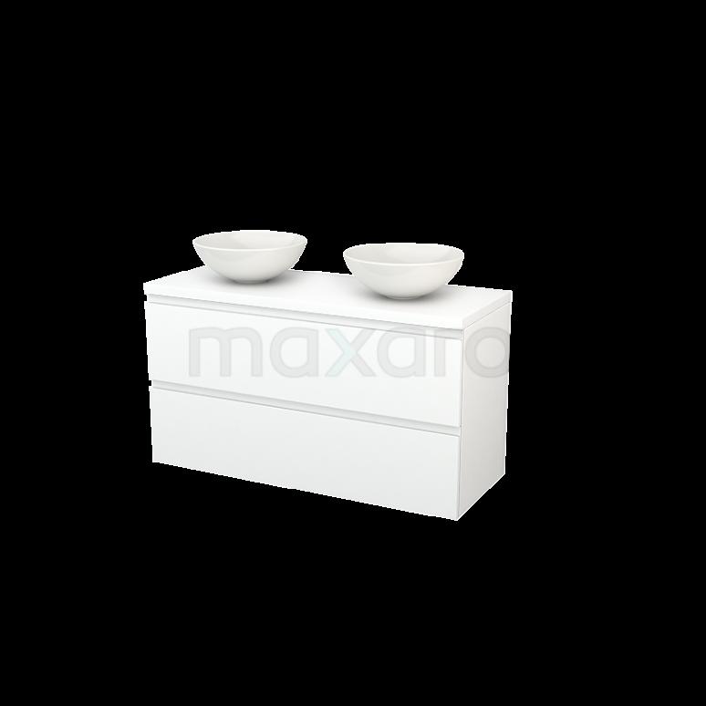Maxaro Modulo+ Plato BMK002032 Badkamermeubel voor Waskom 120cm Modulo+ Plato Mat Wit 2 Lades Greeploos
