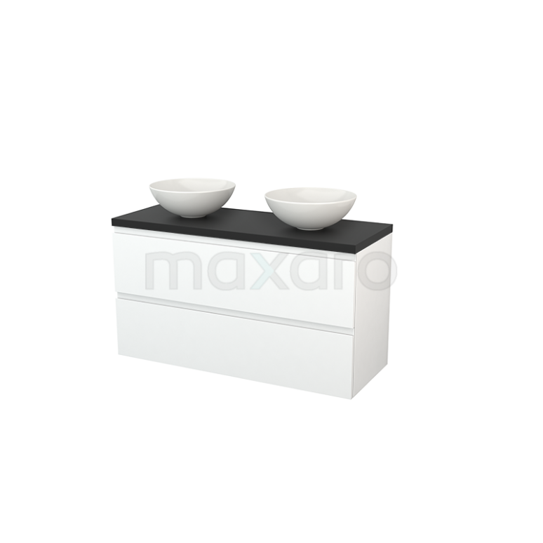 Badkamermeubel voor Waskom 120cm Mat Wit Greeploos Modulo+ Plato Carbon Blad