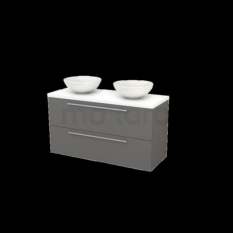 Badkamermeubel voor Waskom 120cm Basalt Vlak Modulo+ Plato Hoogglans Wit Blad