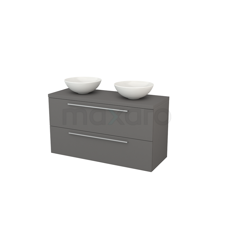 Badkamermeubel voor Waskom 120cm Modulo+ Plato Basalt 2 Lades Vlak