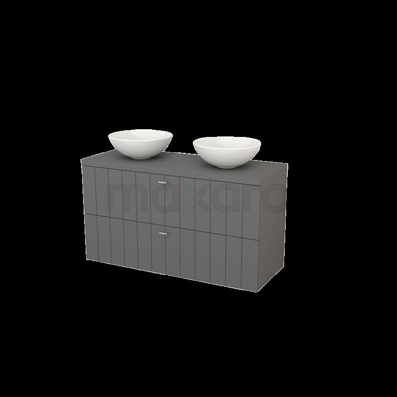 Badkamermeubel voor Waskom 120cm Modulo+ Plato Basalt 2 Lades Lamel