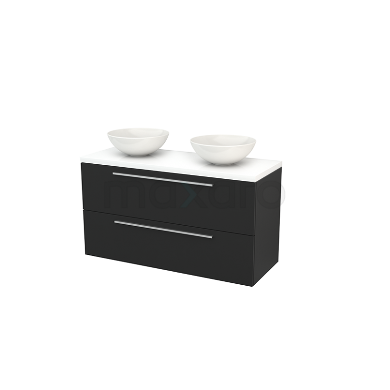 Badkamermeubel voor Waskom 120cm Carbon Vlak Modulo+ Plato Hoogglans Wit Blad