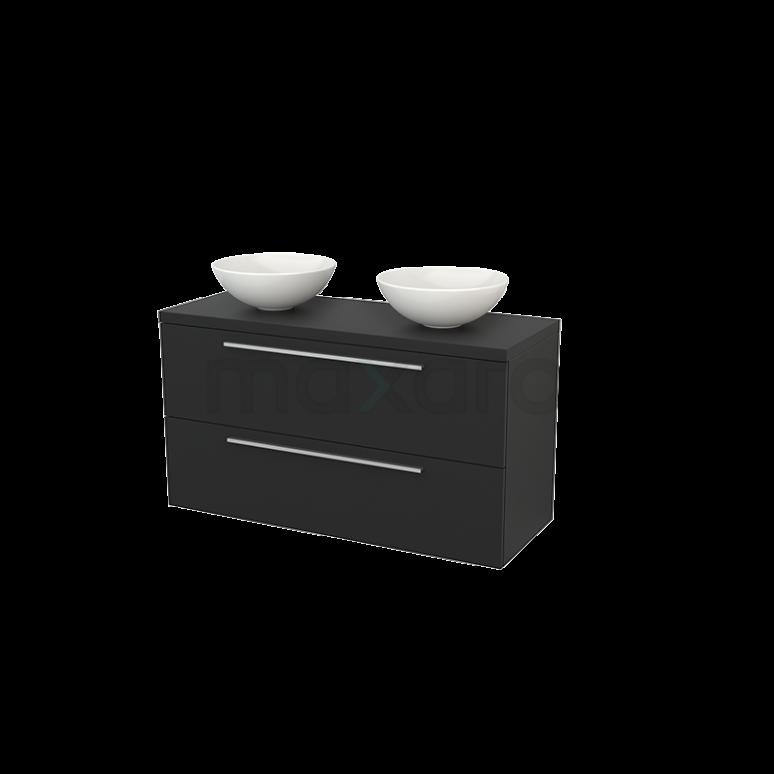 Badkamermeubel voor Waskom 120cm Modulo+ Plato Carbon 2 Lades Vlak