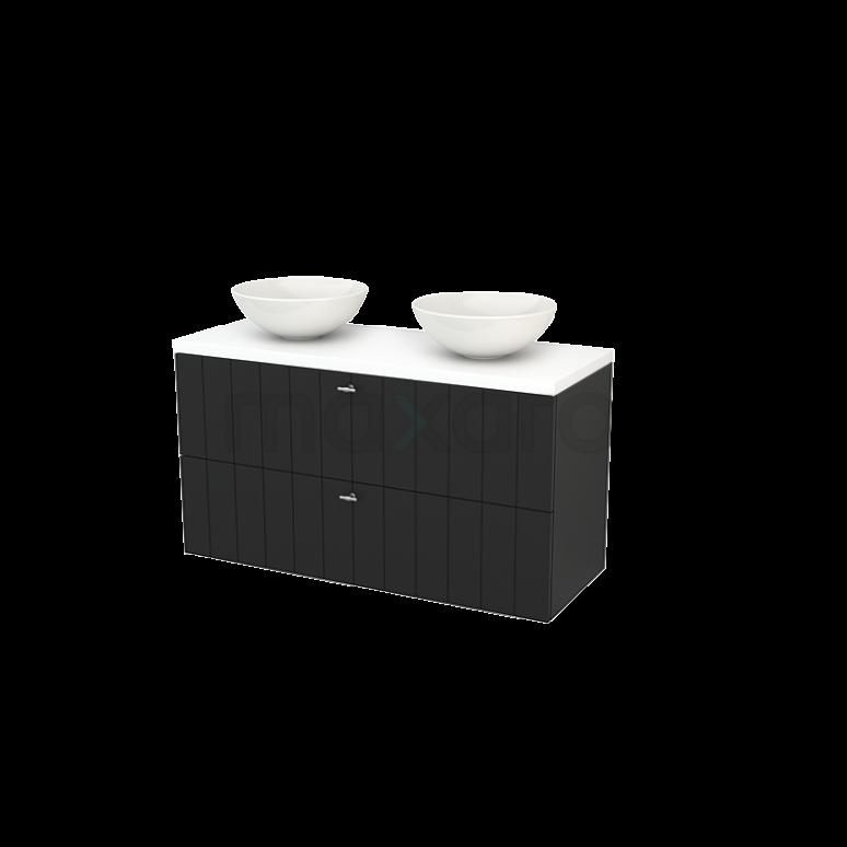 Badkamermeubel voor Waskom 120cm Carbon Lamel Modulo+ Plato Mat Wit Blad