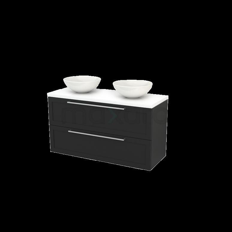 Badkamermeubel voor Waskom 120cm Carbon Kader Modulo+ Plato Hoogglans Wit Blad