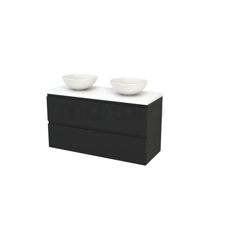 Badkamermeubel voor Waskom 120cm Carbon Greeploos Modulo+ Plato Mat Wit Blad