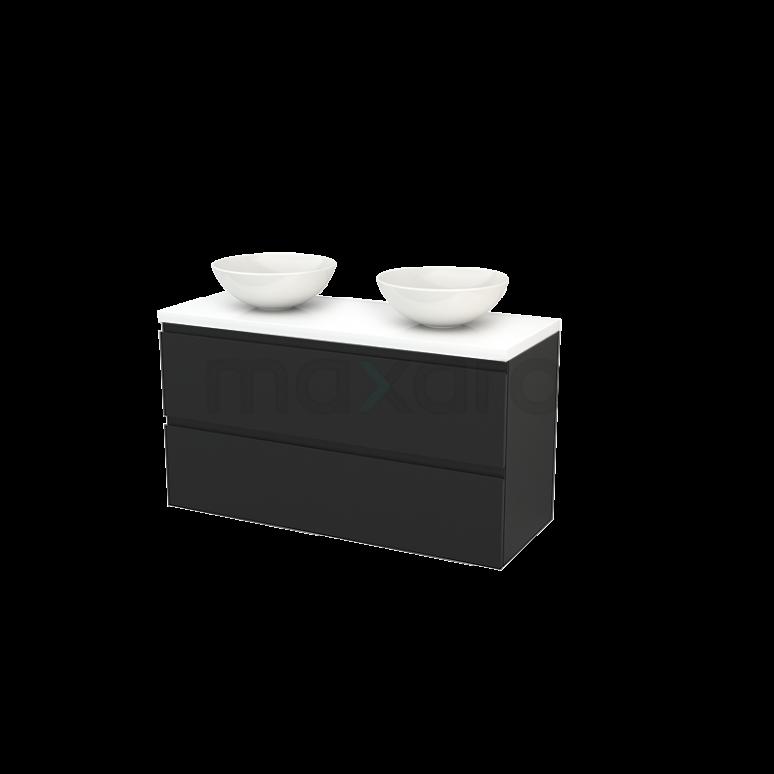 Badkamermeubel voor Waskom 120cm Carbon Greeploos Modulo+ Plato Hoogglans Wit Blad