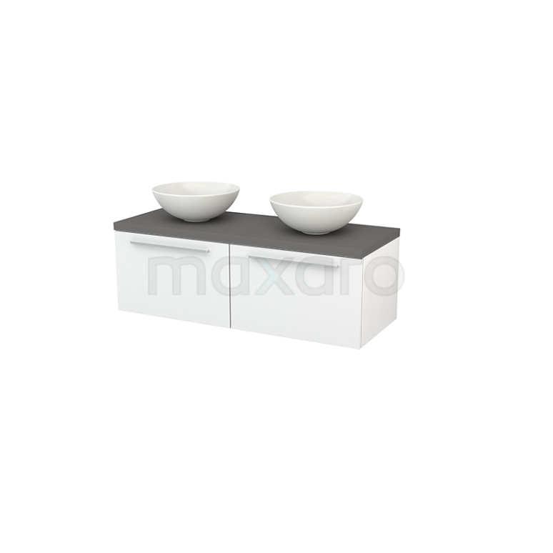 Badkamermeubel voor Waskom 120cm Hoogglans Wit Vlak Modulo+ Plato Basalt Blad