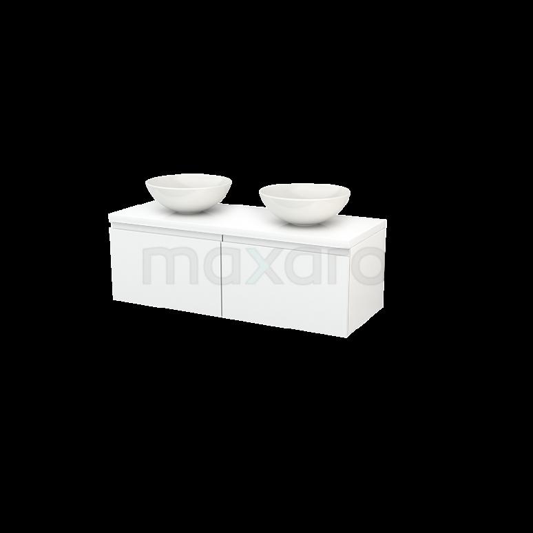 Badkamermeubel voor Waskom 120cm Modulo+ Plato Hoogglans Wit 2 Lades Greeploos
