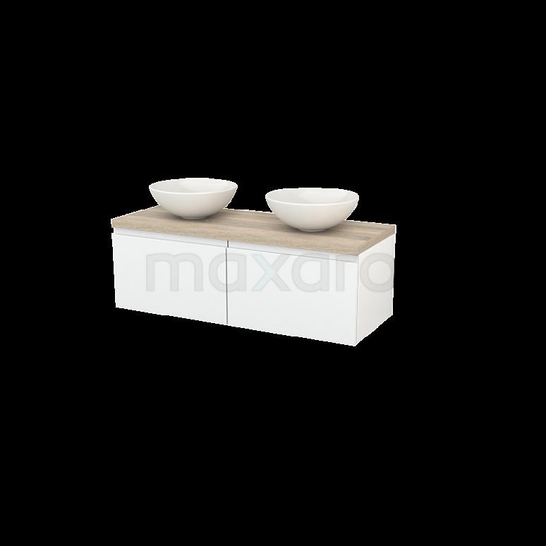 Maxaro Modulo+ Plato BMK002101 Badkamermeubel voor Waskom 120cm Hoogglans Wit Greeploos Modulo+ Plato Eiken Blad