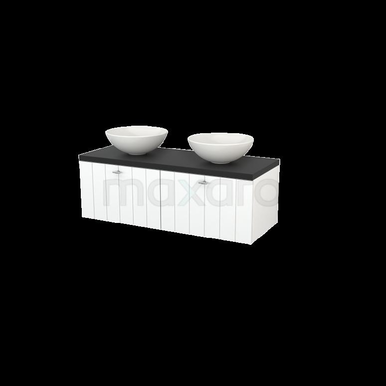 Badkamermeubel voor Waskom 120cm Mat Wit Lamel Modulo+ Plato Carbon Blad