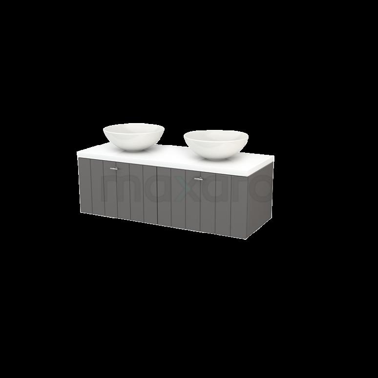 Maxaro Modulo+ Plato BMK002132 Badkamermeubel voor Waskom 120cm Basalt Lamel Modulo+ Plato Hoogglans Wit Blad