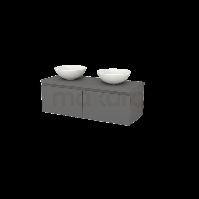 Badkamermeubel voor Waskom 120cm Modulo+ Plato Basalt 2 Lades Greeploos