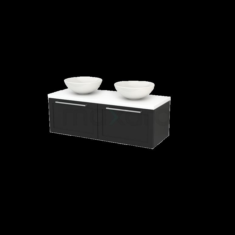 Badkamermeubel voor Waskom 120cm Carbon Kader Modulo+ Plato Mat Wit Blad