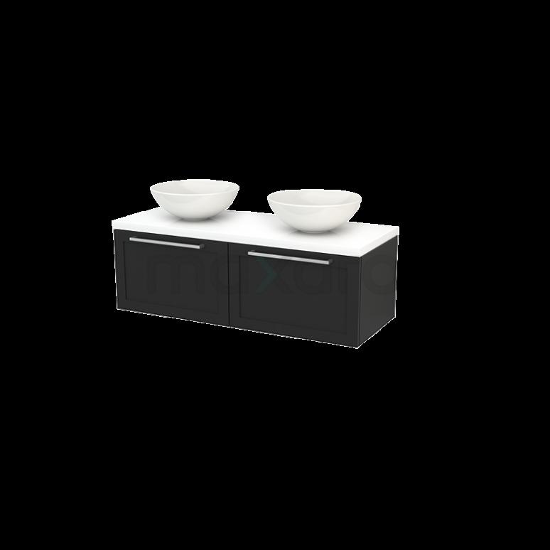 Maxaro Modulo+ Plato BMK002147 Badkamermeubel voor Waskom 120cm Carbon Kader Modulo+ Plato Hoogglans Wit Blad