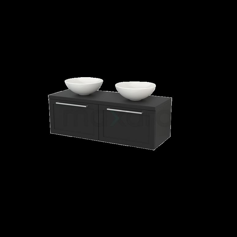 Badkamermeubel voor Waskom 120cm Modulo+ Plato Carbon 2 Lades Kader