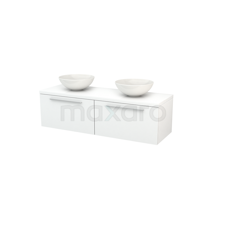 Badkamermeubel voor Waskom 140cm Modulo+ Plato Hoogglans Wit 2 Lades Vlak