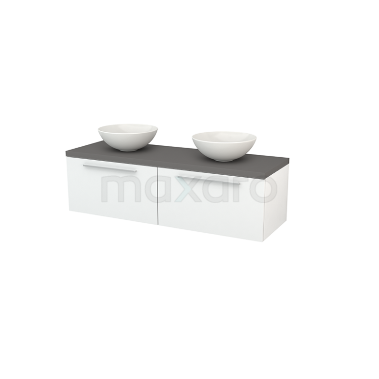 Badkamermeubel voor Waskom 140cm Hoogglans Wit Vlak Modulo+ Plato Basalt Blad