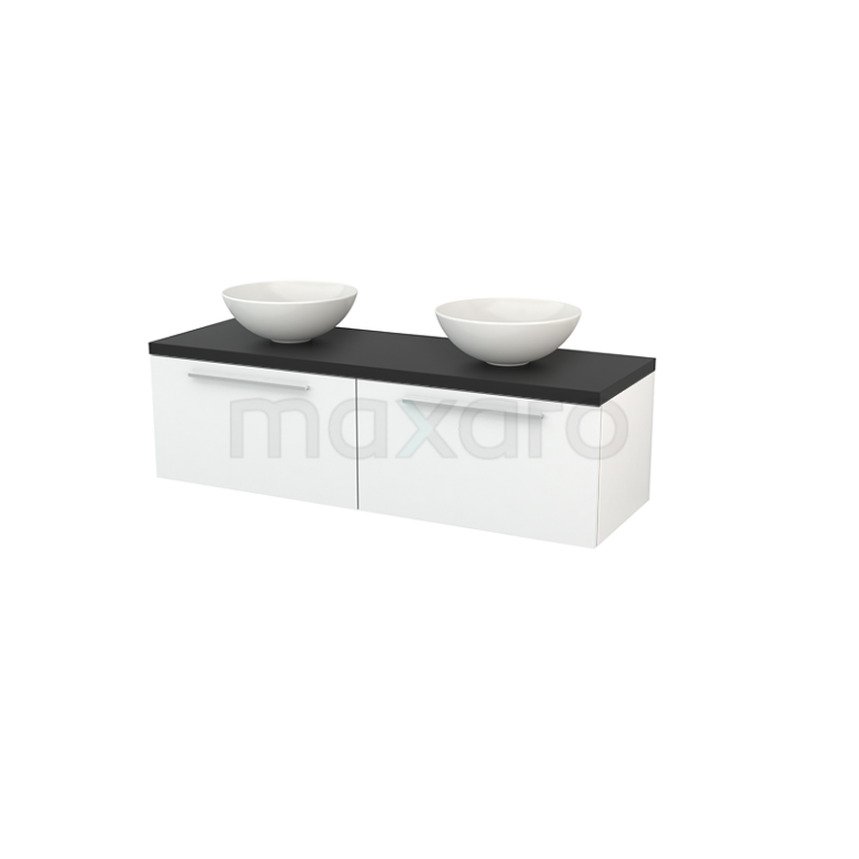Maxaro Modulo+ Plato BMK002172 Badkamermeubel voor Waskom 140cm Hoogglans Wit Vlak Modulo+ Plato Carbon Blad