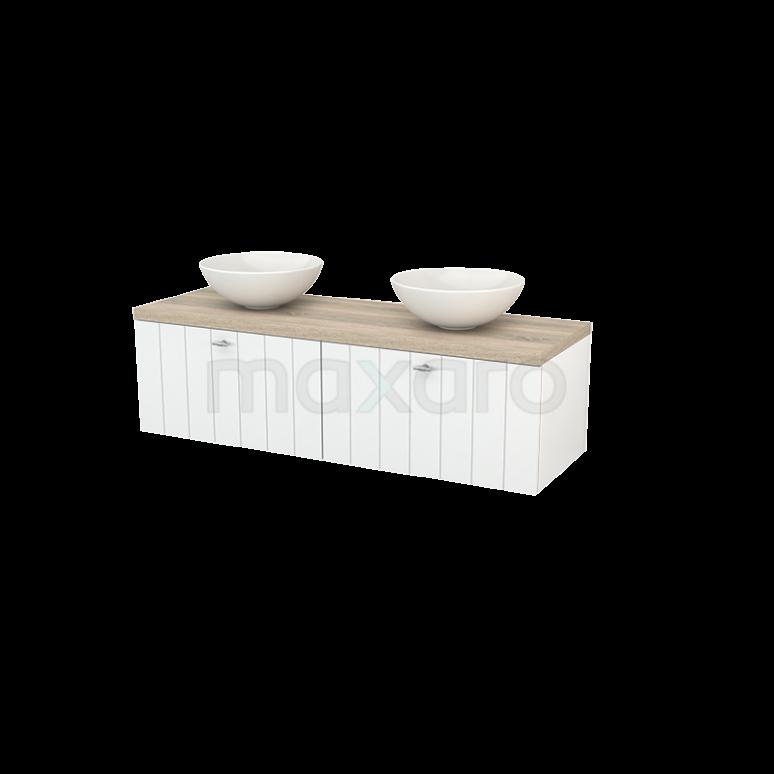 Badkamermeubel voor Waskom 140cm Hoogglans Wit Lamel Modulo+ Plato Eiken Blad