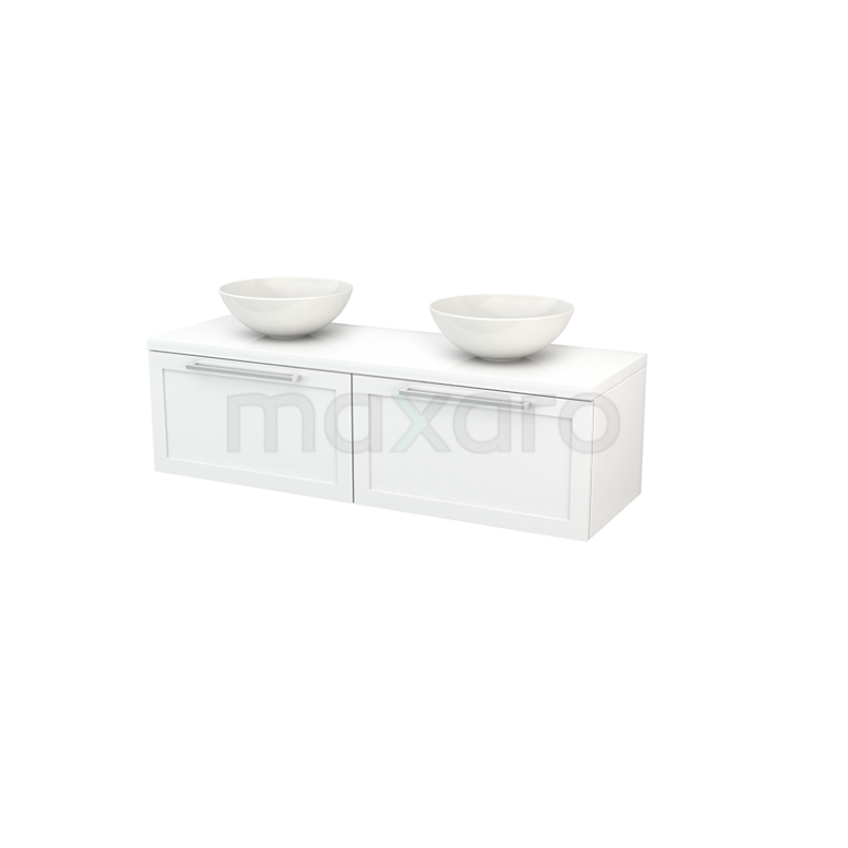 Badkamermeubel voor Waskom 140cm Modulo+ Plato Hoogglans Wit 2 Lades Kader