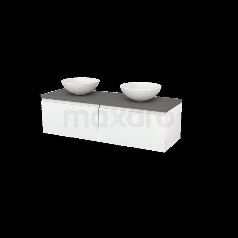 Badkamermeubel voor Waskom 140cm Hoogglans Wit Greeploos Modulo+ Plato Basalt Blad