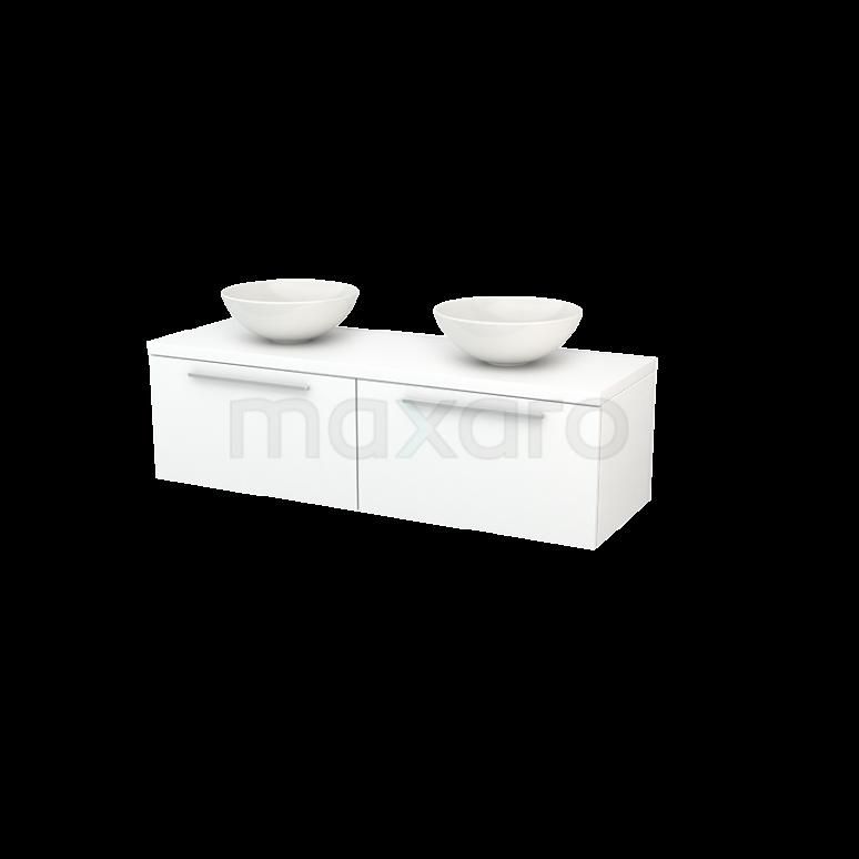 Badkamermeubel voor Waskom 140cm Modulo+ Plato Mat Wit 2 Lades Vlak