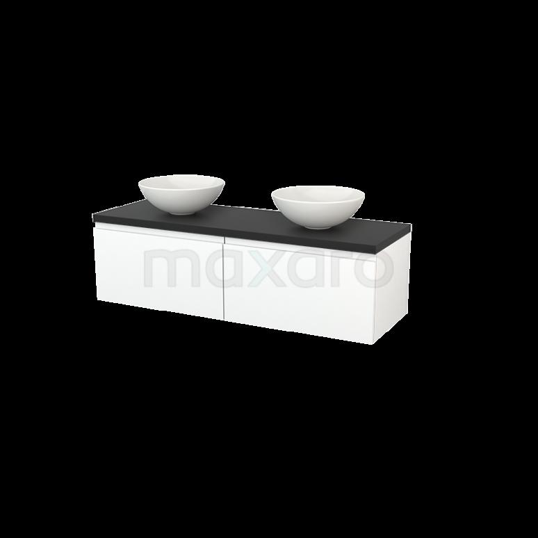 Badkamermeubel voor Waskom 140cm Mat Wit Greeploos Modulo+ Plato Carbon Blad