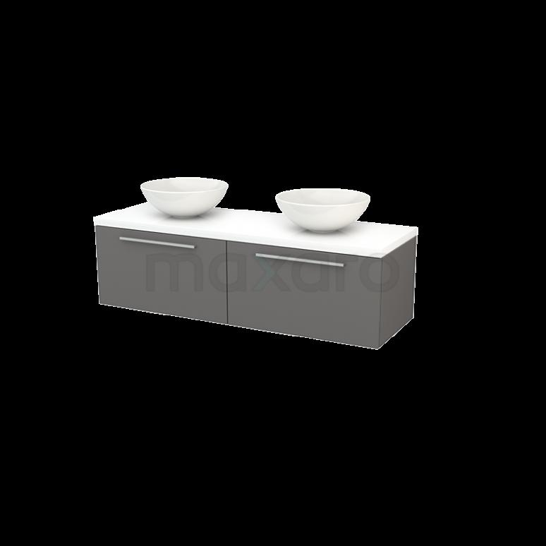 Badkamermeubel voor Waskom 140cm Basalt Vlak Modulo+ Plato Hoogglans Wit Blad