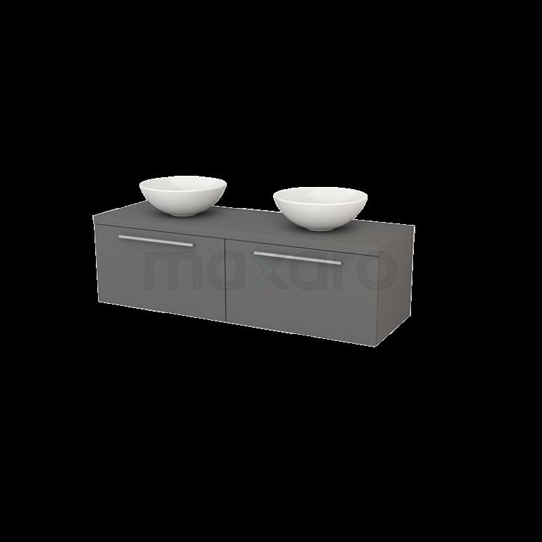 Badkamermeubel voor Waskom 140cm Modulo+ Plato Basalt 2 Lades Vlak