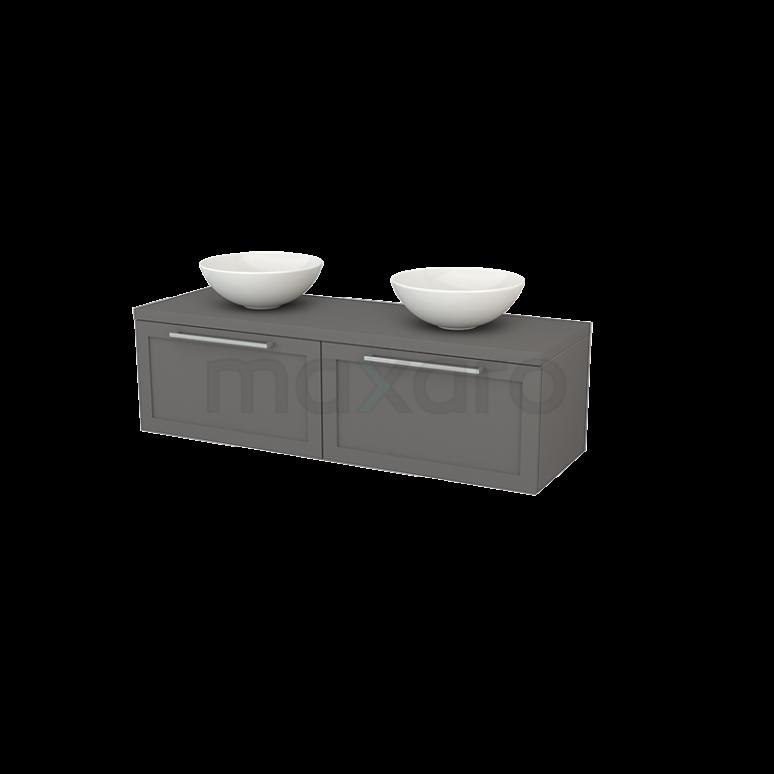 Badkamermeubel voor Waskom 140cm Modulo+ Plato Basalt 2 Lades Kader
