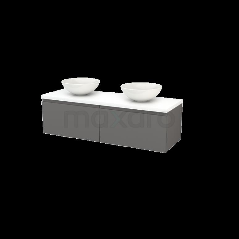 Maxaro Modulo+ Plato BMK002228 Badkamermeubel voor Waskom 140cm Basalt Greeploos Modulo+ Plato Hoogglans Wit Blad