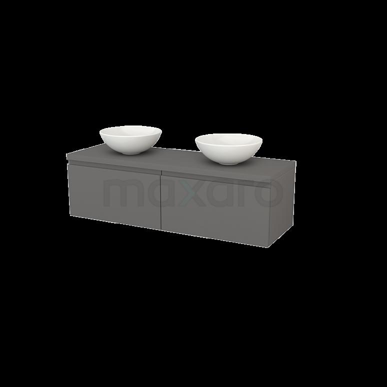 Badkamermeubel voor Waskom 140cm Modulo+ Plato Basalt 2 Lades Greeploos