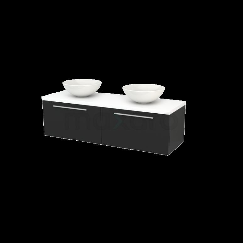 Badkamermeubel voor Waskom 140cm Carbon Vlak Modulo+ Plato Mat Wit Blad
