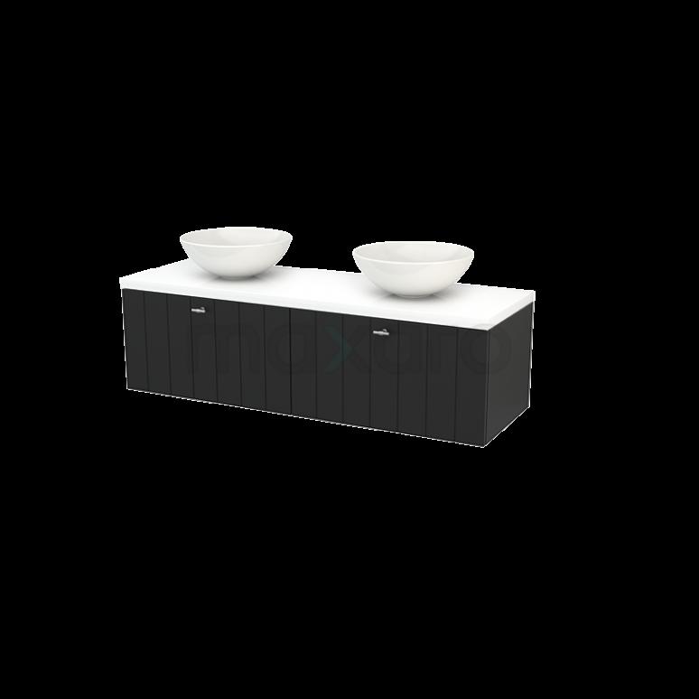 Badkamermeubel voor Waskom 140cm Carbon Lamel Modulo+ Plato Hoogglans Wit Blad