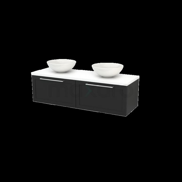 Badkamermeubel voor Waskom 140cm Carbon Kader Modulo+ Plato Hoogglans Wit Blad