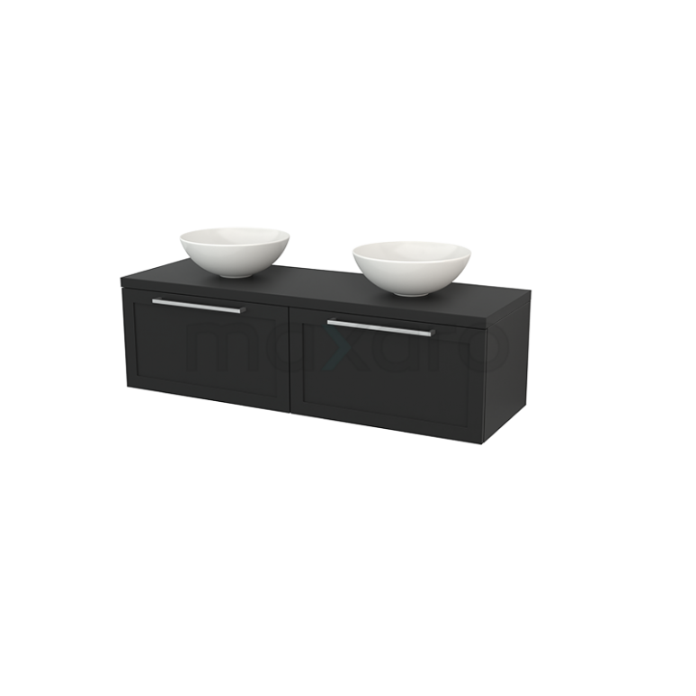 Maxaro Modulo+ Plato BMK002238 Badkamermeubel voor Waskom 140cm Modulo+ Plato Carbon 2 Lades Kader