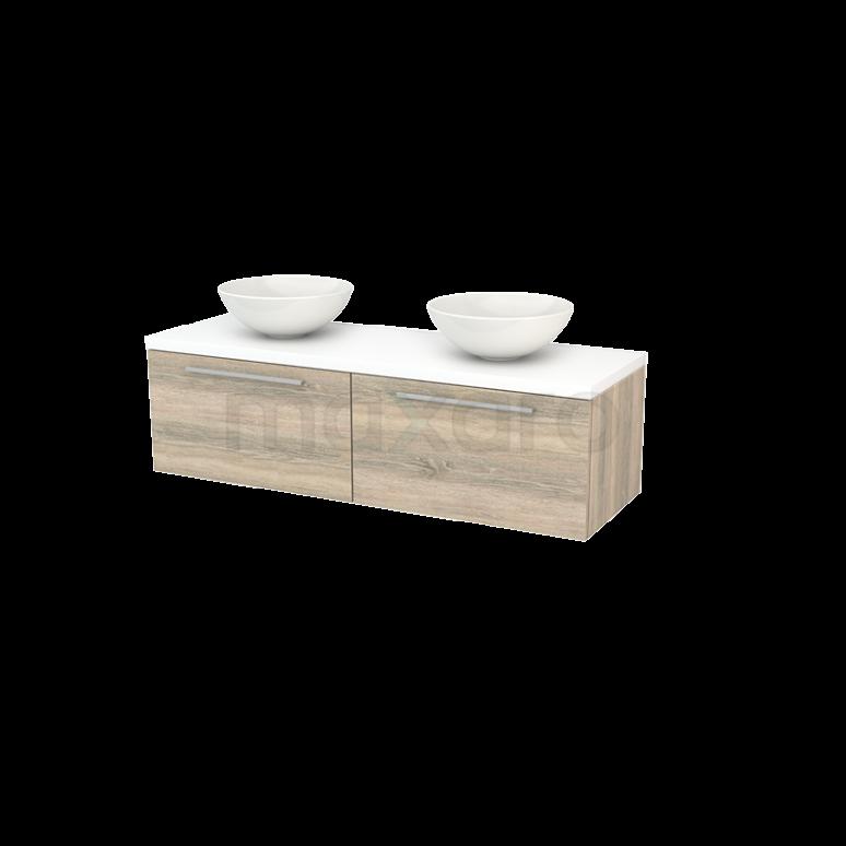 Badkamermeubel voor Waskom 140cm Eiken Vlak Modulo+ Plato Mat Wit Blad