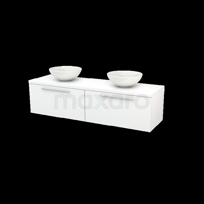 Badkamermeubel voor Waskom 160cm Modulo+ Plato Hoogglans Wit 2 Lades Vlak