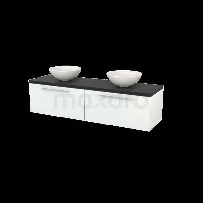 Badkamermeubel voor Waskom 160cm Hoogglans Wit Vlak Modulo+ Plato Carbon Blad