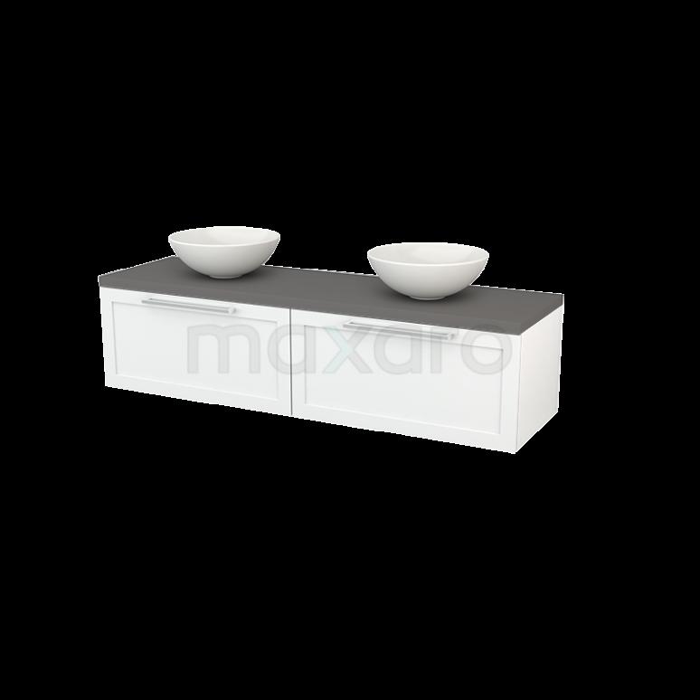 Badkamermeubel voor Waskom 160cm Hoogglans Wit Kader Modulo+ Plato Basalt Blad