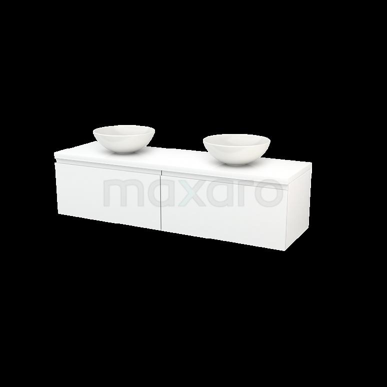 Badkamermeubel voor Waskom 160cm Modulo+ Plato Hoogglans Wit 2 Lades Greeploos