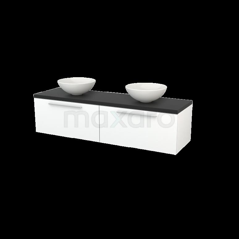 Badkamermeubel voor Waskom 160cm Mat Wit Vlak Modulo+ Plato Carbon Blad